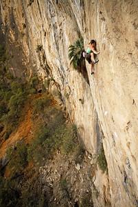 Mandoline Masse-Clark climbing on Outrage Wall, El Potrero Chico. Nuevo Leon, Mexico
