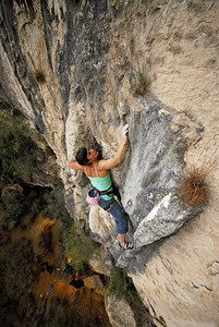 Mandoline Masse-Clark on Devil's Cabana Boy, 5.11d. Outrage Wall, El Potrero Chico, Mexico