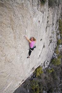 Senja Palonen climbing Los Cuervos, 5.12b. Cula de Gato. El Potrero Chico, Mexico.