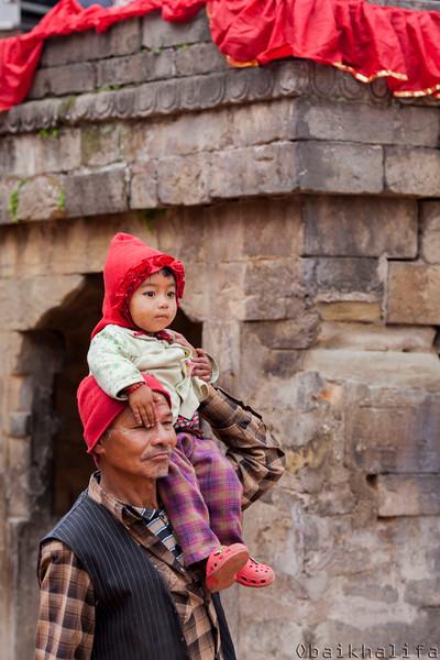 Durbar Square on Daddy's shoulder