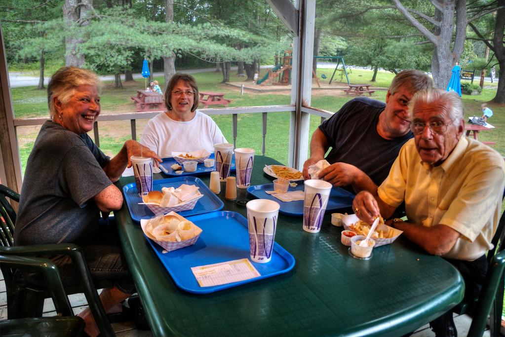 Having dinner at High Tide Restaurant, Hillsboro, New Hampshire