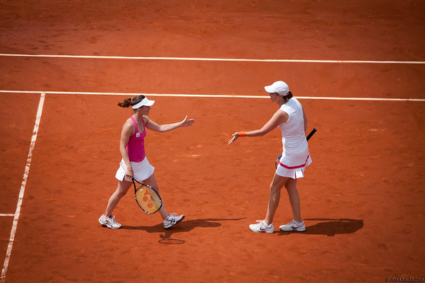 Martina Hingis and Lindsay Davenport winning Women's Legends Doubles Final of Roland Garros (French Open) 2011