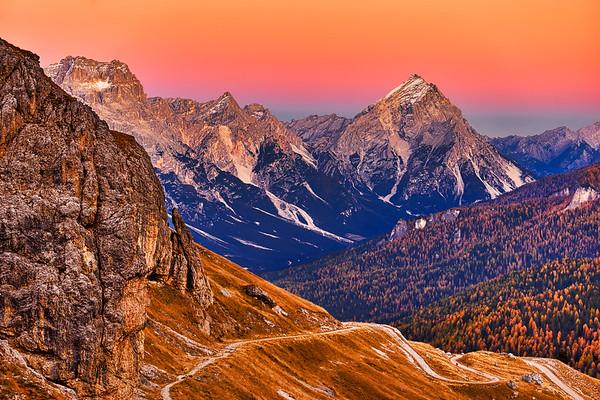 Stunning sunset at Tofana di Roses in Dolomites