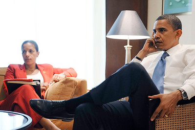 Senator Barack Obama and Top Foreign Policy Advisor Susan Rice meet with speech rights for the Rally in Berlin German on July 24, 2008  VALERIE GOODLOE