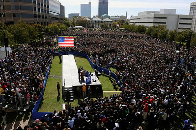 Senator Barack Obama goes to outdoor event Raleigh Get Out to Vote Rally in Raleigh NC VALERIE GOODLOE