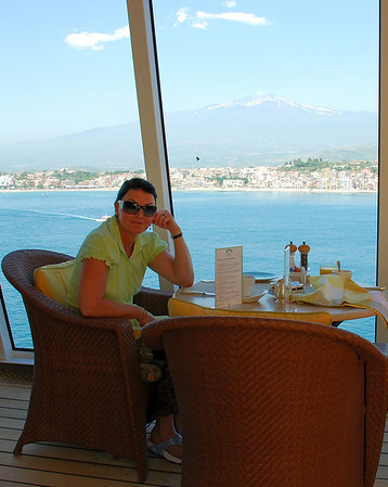 BREAKFAST IN SICILY WITH MT. ETNA IN THE BACKGROUND