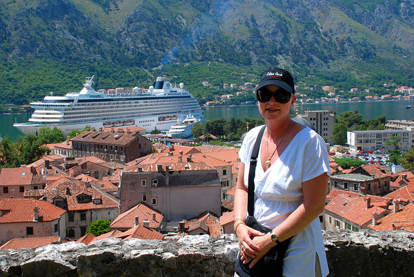 KOTOR, MONTENEGRO OVERLOOKING THE TOWN AND OUR SHIP, CRYSTAL SERENITY