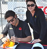 "DARIO FRANCHITI SIGNING MY ""BEACH"" VISOR AT LONG BEACH GRAND PRIX"
