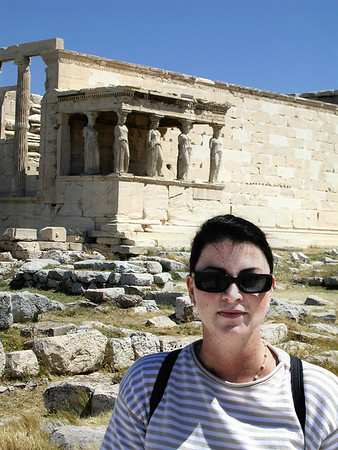 THE ERECHTHEION AT THE ACROPOLIS WITH THE PORTICO OF THE CARYATIDS- THE MAIDENS- ABOVE THE TOMB OF KING CECROPS<br /> (Yes, I remember all that)
