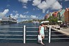 Willemstad, CURACAO, on the floating Queen Emma Bridge