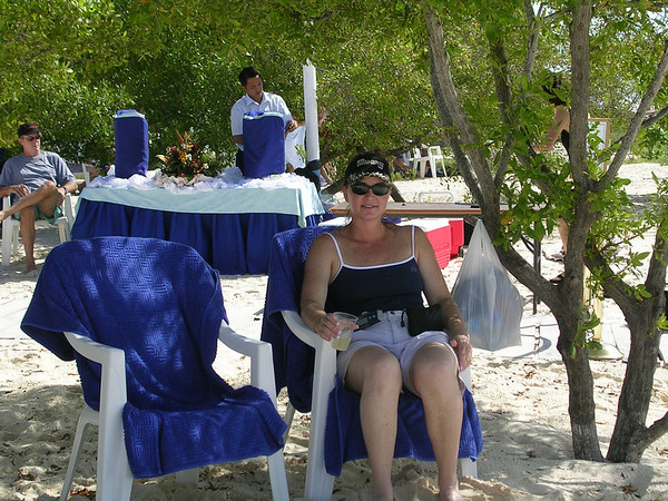 ALL ALONE IN LOS ROQUES, VENEZUELA, EXCEPT FOR THE SILVER WHISPER CREW SERVING CHAMPAGNE