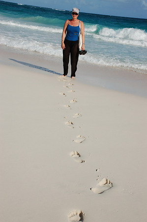 FOOTPRINTS IN THE PINK SAND BEACH AT THE CRANE, BARBADOS