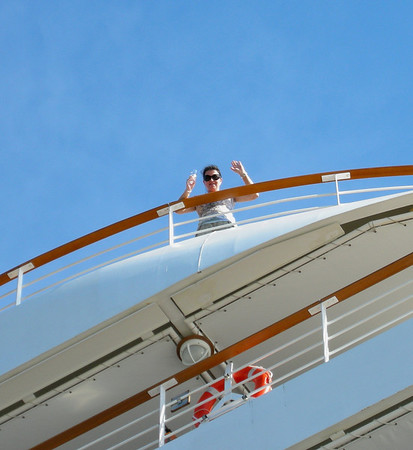 CHAMPAGNE ON THE TOP DECK OF SILVER SPIRIT IN ACAPULCO