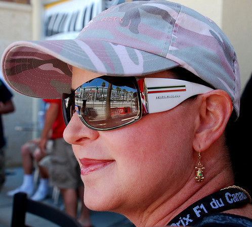 ITALIAN SHADES, FAST CARS ON HER EARS  AND IN THE STREETS, AND F1 MEMORIES FROM CANADA, WHILE ENJOYING ANOTHER DAY AT THE LONG BEACH GRAND PRIX
