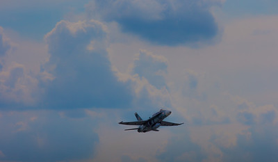 An FA-18 aircraft bearing former Soviet markings takes off from Charleston AFB, SC for a combat exercise.