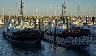 160730 1710 - A couple of powerful tugboats berthed at the Mackay Marina.