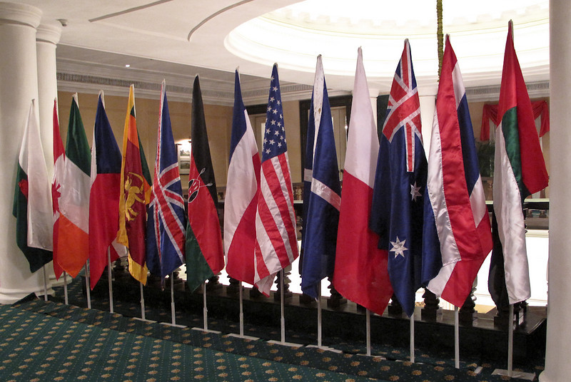 Country flags assembled for the closing gala