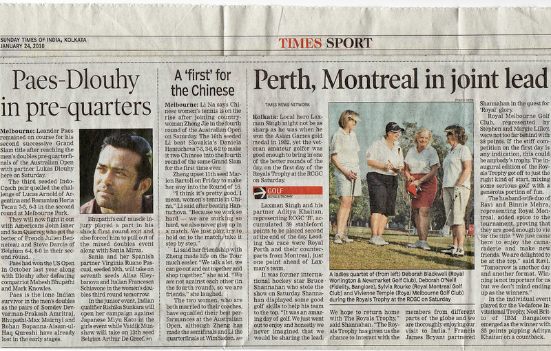 RMGC  makes the Sports Page of the Times of India - Sylvia Rourke in a photo and Binny and Ravi Mehra as co-leaders at the half way mark. Click on photo in order to read article.