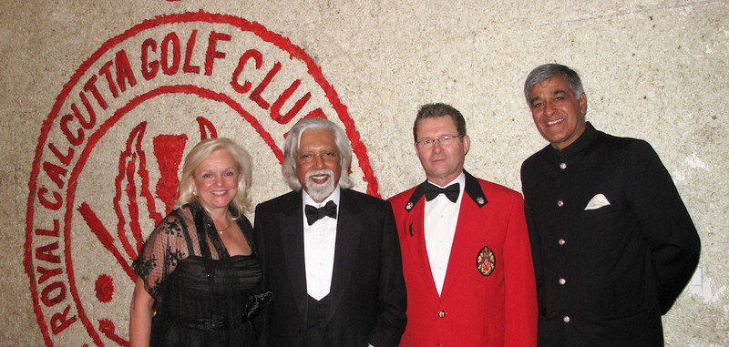 Sylvia and Glenn Rourke, Royal Montreal with Aveek Sarkar, Captain Royal Calcutta and Lakshman Singh co-winner Royals Trophy 2010