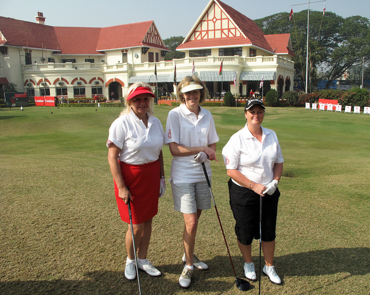 Sylvia Rourke, Royal Montreal; Deborah Blackwell, Royal Worlington and Newmarket; and, Deboah O'Neill, FIdelity Bangalore in front of Royal Calcutta Clubhouse team up on day 1