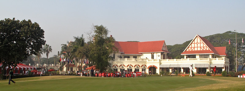 Royal Calcutta Golf Club - beautiful finishing hole with an elegant Clubhouse as a backdrop.