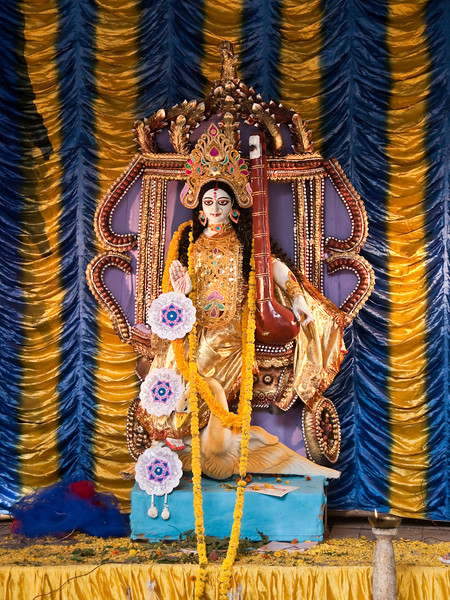 Goddess Saraswati is the goddess of knowledge, art and music, and wisdom. She represents the creative and inspirational aspect of Shakti.