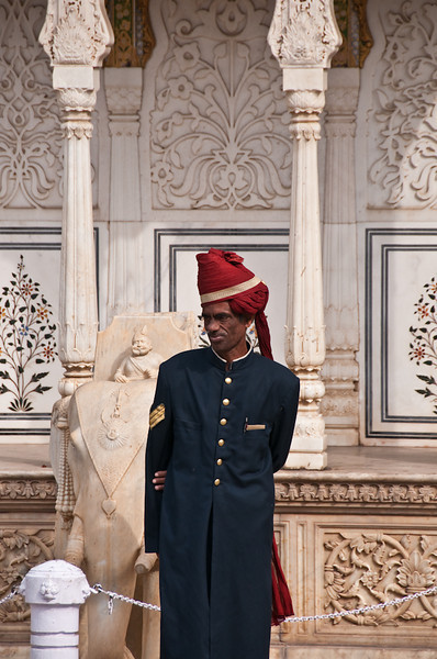 A palace guard in traditional turban.