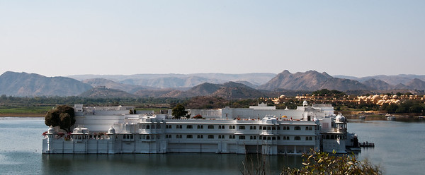 Taj Lake Palace evokes a sense of magic and mysticism. The floating palace  is a dream of white marble and mosaic glistening in the moonlight. Built in 1746 it took three years to complete.  It covers the entire area of the small island in the Pichola Lake.
