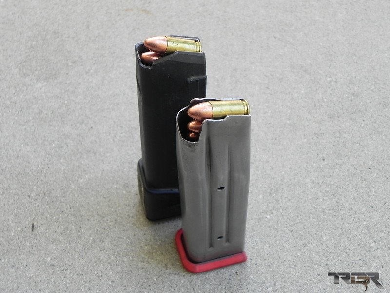 "STI vs Glock Magazines. With a cartridge maxed out to 1.150"" Factory OAL the STI still has space to go longer. This means more options for powder and bullets."