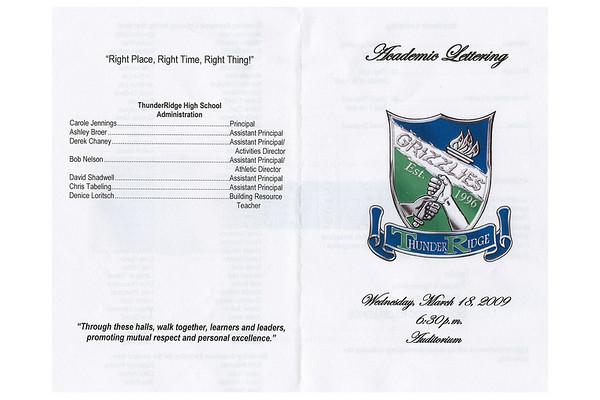 2009 Academic Lettering 03/18/09
