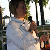 Major Jean Anderson giving a Welcome Racer and race fans speech.
