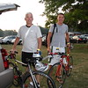 Brooks Butler, from Canton Michigan and Dean Ensey from Toledo, getting ready to take their bikes to Start area.
