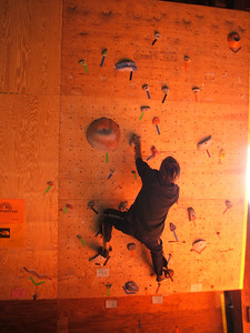 We set problems on the campus wall for the first time ever.  Don't know this kid's name; I believe the problem is a V1.