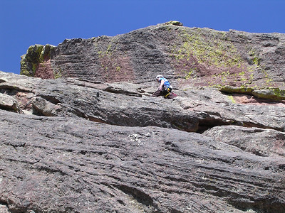 Me leading the third (crux) pitch.