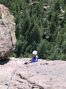 Me belaying the fourth pitch.