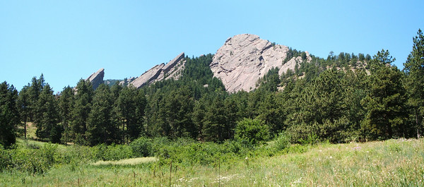 A nice panoramic view of the First, Second, and Third Flatirons (numbered from right to left).