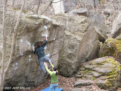 Mike sticks the dyno on No U-Turn (sandbagged V1).