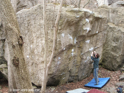 Mike figuring out the moves to Life O'Reilly (V7), his new project.