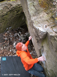 Alex cruxing on the excellent Kung Fu Moves (AKA Foot Fetish, V3).  One of my favorite problems in the Glen.