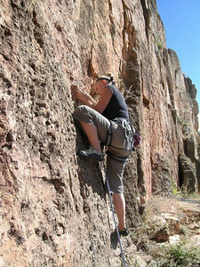 Amanda leading Kalahari Sidewinder (5.8).