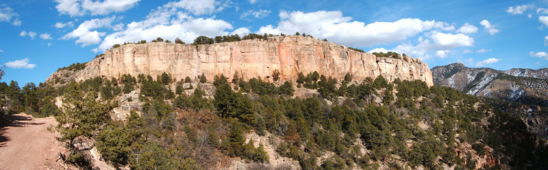 Panorama of one of the major cliffs at Shelf: Cactus Cliff.  We barely sampled what the cliff had to offer (2 routes), but both the routes we got on were superb.
