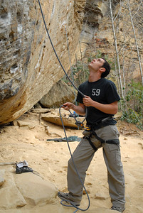 Ben belaying. Photo by Joseph Ho.