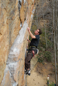 Me on Crazyfingers (5.10c).  All of the routes on the 5.10 wall at Roadside are superb. Photo by Joseph Ho.