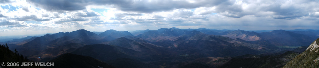 Most of the 46 High Peaks are visible from Giant's summit.  The first time I was on Giant it was very hazy, so it was cool to come up here again when the air was a little clearer (despite the storm front moving in).  Giant Mountain is the 12th highest in NY state at 4627' (only 3000' lower than my house in CO...)