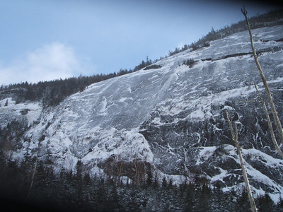 Mt. Colden's ice-coated flank above Avalanche Lake.