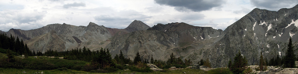 From the head of the valley, we turned west and climbed up a series of benches towards Lily Lake, a hanging tarn below Ellingwood Point and California Peak.  Here's the view looking back east accross the valley.
