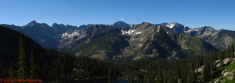 Looking into the rugged heart of the indian Peaks to the south.  Paiute, Toll, Apache, Navajo, Lone Eagle Cirque, etc.