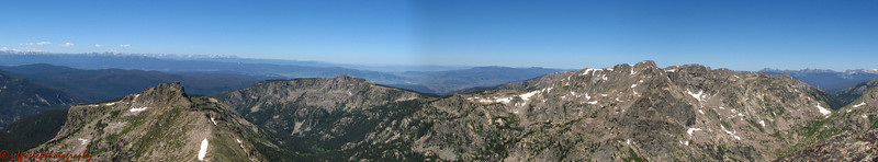 The view from Cooper's summit from the west to north.  Marten Peak down and left, Mount Irving Hale is the next low summit, the Hiamovi Mountain is the big mass on the right.
