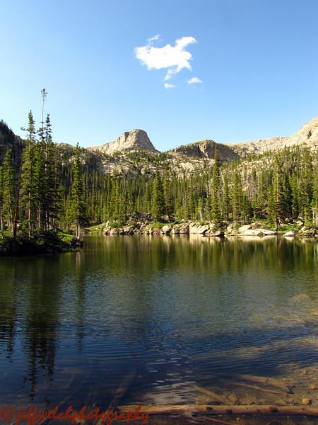 Gourd Lake.  Cooper Peak rises monolithically over the far side.