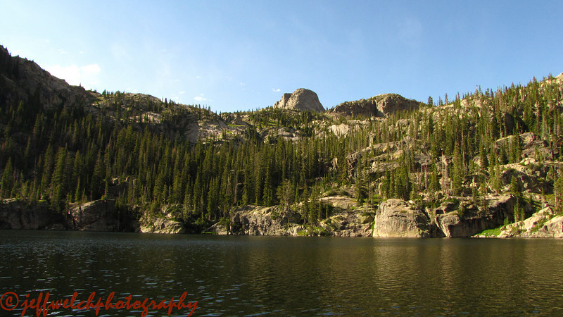 A nice view of the lake in late afternoon light.  I camped on the far side on some ledges among the cliff bands.